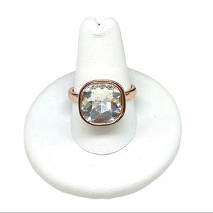 Premier Designs Rose Gold Plated Clear Cut Crystal CZ Ring Sz 8.5 Cubic Zirconia